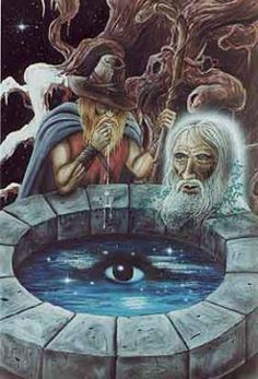 Odin at Mimir's Well - The well of wisdom is located by the second root of the tree Yggdrasil in Jotunheim.