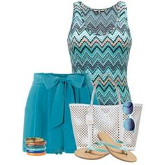 Summer outfit teal turquoise #Chevron sandals white tote and sunglasses