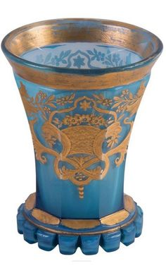 Buquoy'sche Hütte, Silberberg, South Bohemia, circa 1830-1850 blue agatin glass with gold decor, vine branch.