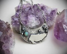 Girl of the Cosmos  Sterling Silver Opal Statement Necklace