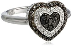 2.3mm Sonia Jewels Sterling Silver Stackable Expressions Ruthenium-Plated Heart Diamond Ring