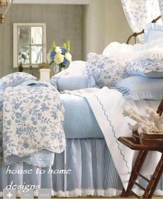 COLONIAL BRIGHTON BLUE TOILE 7pc QUILT SET FULL QUEEN