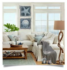 """Beach House"" by lidia-solymosi ❤ liked on Polyvore featuring interior, interiors, interior design, Casa, home decor, interior decorating e Pottery Barn"