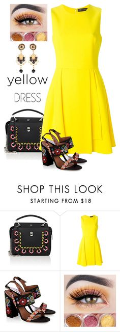 """yellowdress"" by alenaglush ❤ liked on Polyvore featuring Fendi, Versace and Tabitha Simmons"