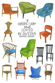 nordic adventure: chairs - by Lisa Congdon Chair Drawing, Design Moderne, Mode Vintage, Fabric Sofa, Art Design, Modern Chairs, Watercolor Illustration, Cool Art, Furniture Design
