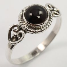 Indian Artisan Ring Size US 6.25 Natural BLACK ONYX Gemstone 925 Sterling Silver #Unbranded