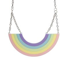 Our XL Rainbow Necklace measures approximately wide and consists of two layers of hand assembled, laser cut acrylic pieces. Laser Cut Acrylic, Laser Cutting, Pastel, Rainbow, Sugar, Irregular Choice, Jewelry, Unicorn, Schmuck