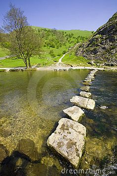 Valley of the River Dove in Dovedale , Derbyshire Peak District National Park, England
