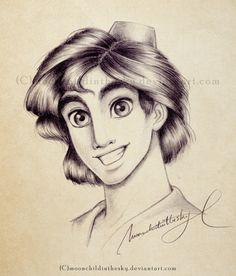 Aladdin Portrait BnW by *moonchildinthesky on deviantART