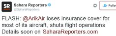 Arik Air shuts down all operations   Arik Airline'sinability to pay its debt owned to its suppliers of aviation fuel and also the airlines insurers in Europe have reportedly withdrawn insurance cover from the airline and shut down operations altogether.  The airlineallegedlyowes its suppliers of aviation fuel N3 billion. Most of the airline's flights have beencancelled today following these development.