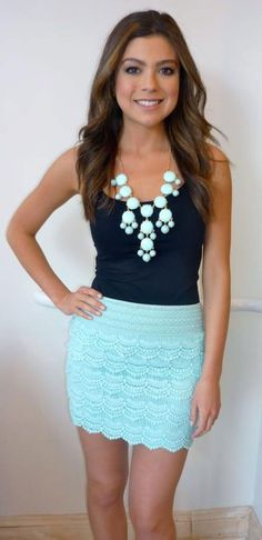 Turquoise Lace Skirt With Black Singlet | Ultimate Womens Fashion