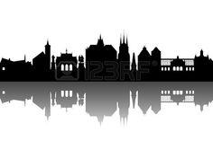 Erfurt Skyline abstraite Banque d'images