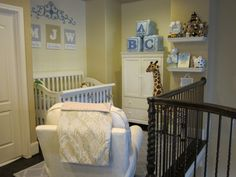 baby boy nursery - I like the initials on the wall