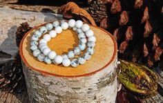 Kiwi Jasper and Alabaster bracelet set.