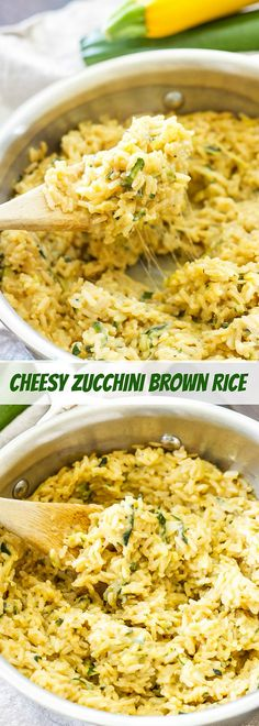 Cheesy Zucchini Brown Rice | Whole grain, gluten free, vegetarian and loaded with zucchini and cheese!