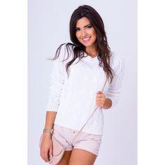 Pletený pulóvrik bielej farby - fashionday.eu White Shorts, Women, Fashion, Moda, Fashion Styles, Fashion Illustrations, Woman