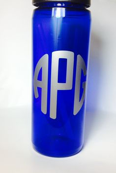 Blue and silver monogrammed thermos brand water bottle! On my Etsy shop!  www.etsy.com/shop/CustomMonogramDesign