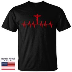 Christian T Shirt Jesus Saved My Life Heart Beat Design without wording Jesus Shirts, Christian Clothing, Christian Shirts, Jesus Saves, Save My Life, Shirt Designs, How To Make, How To Wear, Heart Beat