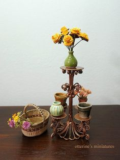 Copper garden plant stand  dollhouse miniature by otterine on Etsy