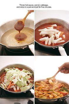 Ddukbokki (Korean Spicy Rice Cakes) -1 lb finger-sized rice cakes -¹⁄2 lb fish cake(s) -¹⁄4 lb cabbage -¹⁄8 carrot -1 spring onion ~Hot Sauce -4 tbsp red pepper paste -1 tsp red pepper powder -1 tsp minced garlic -1 tsp corn syrup -3 tbsp sugar -1 tbsp soy sauce -3 cups water