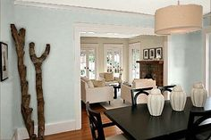Living In Color: Color IQ: Makeover Options for The Perfect Palette - Dining Rm walls, BM Palladian Blue and Silver Satin ceiling Bedroom Colors, Home Decor Bedroom, Palladian Blue, Stonington Gray, Paint Color Schemes, Colour Pallette, Benjamin Moore Colors, Favorite Paint Colors, Paint Colors For Home