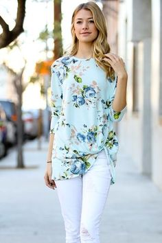 Side-Knot Floral Top (Mint)