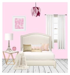"""""""Pretty Pink Bedroom"""" by victoriafiocco ❤ liked on Polyvore featuring interior, interiors, interior design, home, home decor, interior decorating, Royal Velvet, Along Came the Fold, Ethan Allen and Nuevo"""