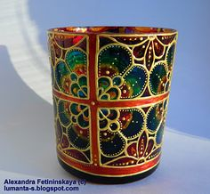 Art by Alexandra Fet Candle holder | Hand painted stained glass.