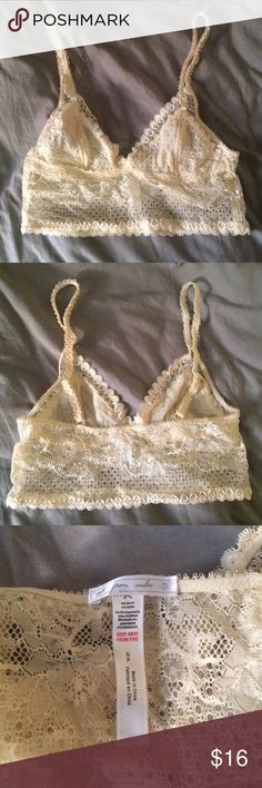 Urban Outfitters Cream Lace Bralette In excellent condition. Only worn once. A beautiful lace bralette that would look so cute peeking out from under a tee. Urban Outfitters Intimates & Sleepwear Bras