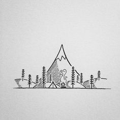 line drawing mountains - Google Search