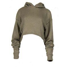 Sage cropped Hoody ($46) ❤ liked on Polyvore featuring tops, hoodies, shirts, crop top, hoodie crop top, hooded sweatshirt, hoodie top and sweatshirt hoodies