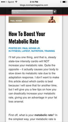 Ironman Magazine- How To Boost Your Metabolic Rate - More Efficient Fat Loss and Weight Management - ➡️http://blogs.ironmanmagazine.com/paulhovan/how-to-boost-your-metabolic-rate/⬅️ #health #fitness #weightloss #nutrition #diet #wellness #exercise #workout