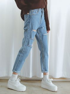 "8af58faa5a43b roseglam  "" Distressed Loose Jeans "" Loose Jeans Outfit, Indie, Pop Fashion,"