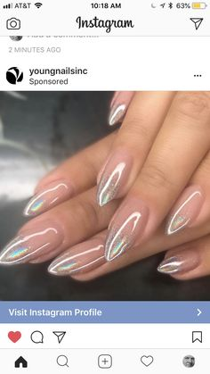 juvenil Holo Ombre Nail Art is the latest 2019 Manicure trend that's taking over the web. Holo Ombre Nail Art is the latest trend of manicure in 2019 that invades the Web - Hike n Dip Cute Nails, Pretty Nails, Hair And Nails, My Nails, Bling Nails, Faded Nails, Stiletto Nail Art, Acrylic Nails, Latest Nail Art