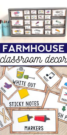 Farmhouse Classroom Decor - Rustic Theme & Decorations farmhouse classroom decor - rustic classroom decor for kindergarten, elementary and middle classroom includes 23 sets of. Classroom Decor Themes, Classroom Jobs, Classroom Board, Classroom Labels, Classroom Setup, Teacher Toolbox Labels, Teacher Organization, Library Labels, School Resources