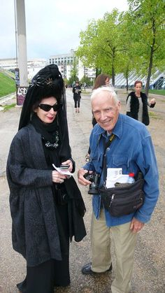 My love, Bill Cunningham with the icon Diane Pernet in Paris for PFW
