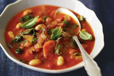 "Spicy Sun-Dried Tomato Soup with White Beans & Swiss Chard. bigail came up with this soup on a cold winter night. ""As usually happens with soup, it made itself with the ingredients I had on hand,"" she explains. ""I used sun-dried tomatoes as the star ingredient, and everything else just seemed to evolve."""