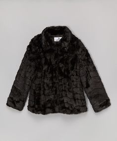 Black Faux Fur Coat - Girls by KC Collections #zulily #zulilyfinds