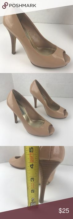 Steve Madden size 51/3 Nude Open Toe Shoes One of the shoes has a scuff pls see pictures  Feel free to ask question/ open to offers. Please see pictures as part of the description. Steve Madden Shoes Heels