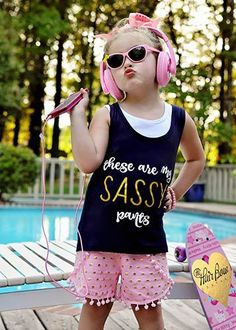 """The Hair Bow Company - """"These Are My Sassy Pants"""" Tank and Pom Pom Shorts Set, $14.99 (http://www.thehairbowcompany.com/these-are-my-sassy-pants-tank-and-pom-pom-shorts-set/)"""