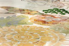 Macrosterias - Detail of the inlaid floor with marbles and grass