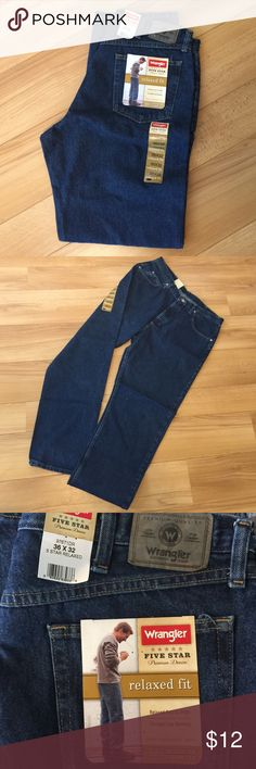NWT men's dark wash wranglers Relaxed fit, 36x32 🚫non smoking home🚫 Wrangler Jeans Relaxed