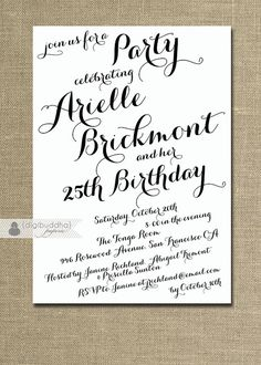 Modern Script Birthday Invitation Calligraphy Party Celebration 21st 25th 30th 40th Handwritten Printable DIY or Printed - Arielle Style