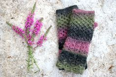 Fingerless mittens in green purple black Boho by MarryGKnitCrochet, $35.00