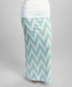 This Mint & White Chevron Maxi Skirt is perfect! #zulilyfinds
