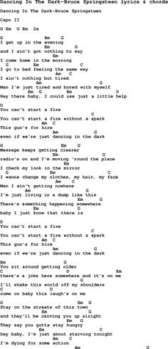 Love Song Lyrics for: Dancing In The Dark-Bruce Springsteen with chords for Ukulele, Guitar Banjo etc.