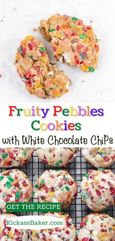 These take me right back to when I was eight years old. That iconic sugary, fruity crunch of Fruity Pebbles. The milk left behind was one of my favorite parts! Lo and behold, I found a way to use the cereal and the cereal milk to make amazing cookies. Homemade Cookies, Homemade Desserts, Fun Desserts, Fruity Pebble Cookies, Healthy No Bake Cookies, Iced Sugar Cookies, Baker Recipes, Best Cookie Recipes, White Chocolate Chips