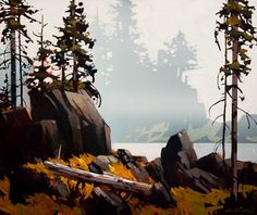 Rivers Inlet, by Michael O'Toole Vancouver, British Columbia, Canada) Watercolor Landscape, Landscape Art, Landscape Paintings, Watercolor Art, Canadian Painters, Canadian Artists, Autumn Painting, Tree Art, Beautiful Landscapes