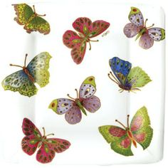 Entertaining with Caspari Jeweled Butterflies Square Paper Salad/Dessert Plates, Ivory, Pack of 8 by Caspari. $5.00. Add beauty to every part of your life with Caspari?s coordinating gift cards, gift wrap/bags, and top quality candles. Springtime motif in fall colors by parvenah holloway. 100% paper. Pack of eight 8-inch salad/dessert paper plates by caspari. Disposability makes clean-up a snap. Made of extra-sturdy paper printed with non-toxic, water-soluble dyes. Plates ar...