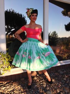 Palm Springs Swing Collection ~ Pink Flamingos Circle Skirt PRE-ORDER